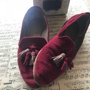Anthropologie suede tassel loafers